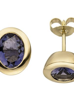 SIGO Ohrstecker 585 Gold Gelbgold 2 Iolithe Ohrringe Goldohrringe Iolithohrstecker