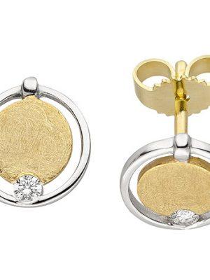 SIGO Ohrstecker 585 Gold Gelbgold bicolor eismatt 2 Diamanten Brillanten Ohrringe
