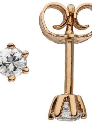 SIGO Ohrstecker 585 Gold Rotgold 2 Diamanten Brillanten 0,14 ct. Ohrringe