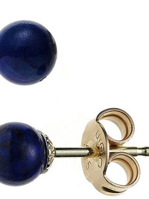 SIGO Ohrstecker Kugel 585 Gold Gelbgold 2 Lapislazuli blau Ohrringe Goldohrstecker