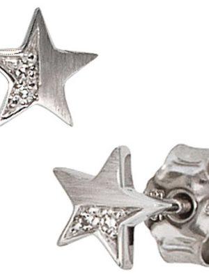 SIGO Ohrstecker Stern 585 Gold Weißgold matt 1 Diamant Brillant 0,022ct. Ohrringe