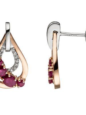 SIGO Ohrstecker Tropfen 585 Gold bicolor 8 Rubine rot 18 Diamanten Brillanten