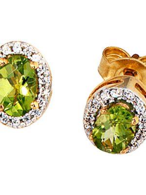 SIGO Ohrstecker oval 585 Gelbgold 1 Diamant Brillant 2 Peridote grün Ohrringe