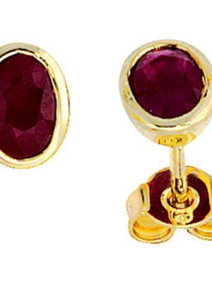 SIGO Ohrstecker oval 585 Gold Gelbgold 2 Rubine rot Ohrringe Goldohrstecker