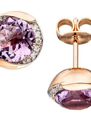 SIGO Ohrstecker rund 585 Gold Rotgold 20 Diamanten 2 Amethyste lila violett Ohrringe