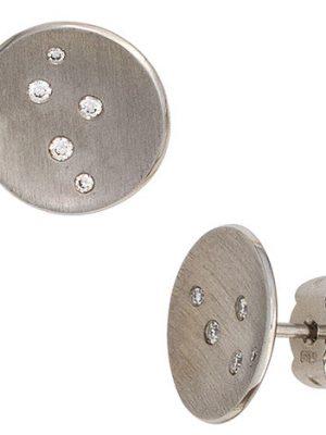 SIGO Ohrstecker rund 950 Platin matt 10 Diamanten Brillanten Ohrringe Platinohrringe