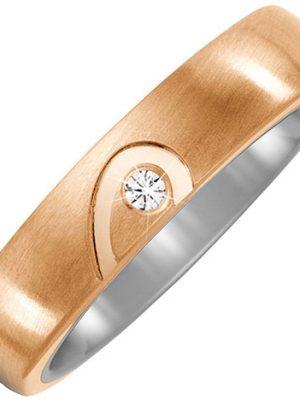 SIGO Partner Ring Halbes Herz aus Titan und Bronze 1 Diamant Brillant Partnerring