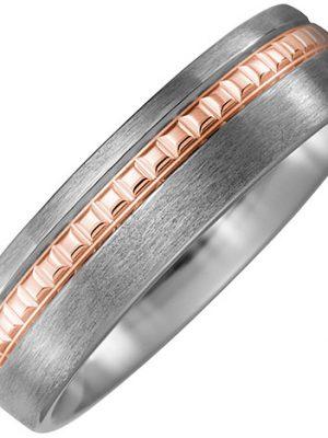 SIGO Partner Ring Titan matt mit 750 Rotgold Partnerring