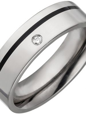 SIGO Partner Ring Titan mit Keramik schwarz 1 Diamant Brillant Partnerring Titanring