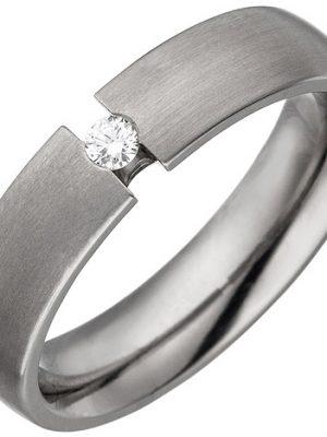 SIGO Partner Ring aus Titan 1 Diamant Brillant 0,05ct. Partnerring Titanring matt