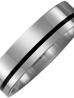 SIGO Partner Ring aus Titan mit Keramik schwarz Partnerring bicolor
