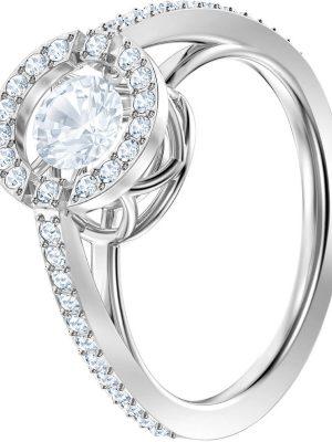 Swarovski 5465280 Ring Damen Sparkling Dance Round Weiss Silber-Ton Gr. 55
