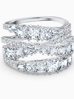 Swarovski 5584646 Ring Damen Twist Wrap Weiss Silber-Ton Gr. 58