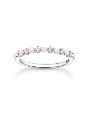Thomas Sabo TR2343-166-7 Ring Damen Rosa und Weiße Steine Silber Gr. 52
