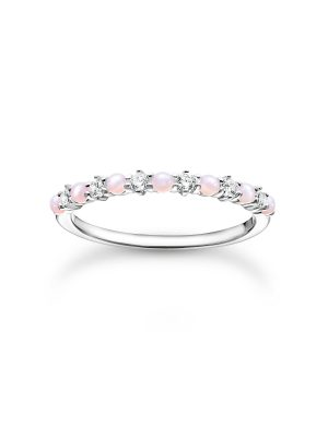Thomas Sabo TR2343-166-7 Ring Damen Rosa und Weiße Steine Silber Gr. 60