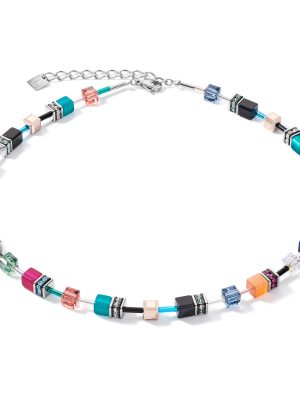 Coeur de Lion 2838/10-1579 Halskette Collier Damen GeoCUBE® Multicolor Ethno Edelstahl