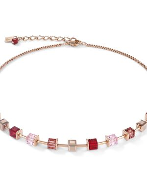 Coeur de Lion 4996/10-0300 Halskette GeoCUBE® Swarovski® Kristalle & Edelstahl Rot Rosé