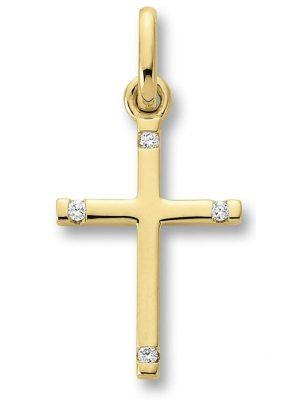 Damen Schmuck Kreuz Anhänger aus 585 Gelbgold mit 0,02 ct Diamant One Element gold