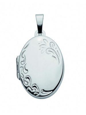 Damen Weißgoldschmuck 585 Weißgold Medaillon Anhänger 1001 Diamonds silber