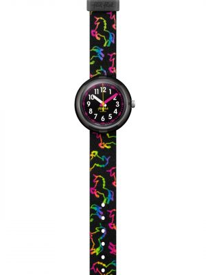 FlikFlak FPNP070 Mädchen-Uhr Disco Unicorn Analog Quarz mit Textil-Armband