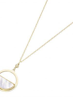 Karat 99037140450 Halskette mit Anhänger Rund Perlmutt 375/- Gelb-Gold