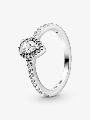 Pandora 198860C01 Ring Damen Klassischer Tropfen-Strahlenkranz Silber Gr. 52