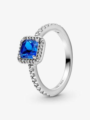 Pandora 198863C02 Ring Blauer Quadratischer Funkelnder Strahlenkranz Silber Gr. 54