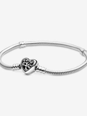 Pandora 598827C01 Schlangen-Gliederarmband mit Herz-Verschluss 21 cm