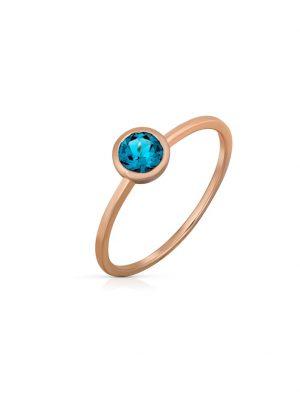 Ring 585/- Gold Blautopas beh. blau Glänzend Orolino rot