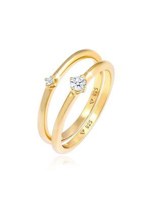 Ring Solitär Diamanten (0.125 Ct.) 2Er Set 925 Silber DIAMORE Gold