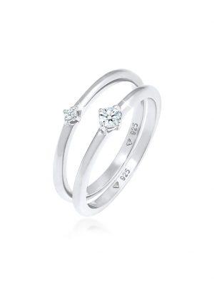 Ring Solitär Diamanten (0.125 Ct.) 2Er Set 925 Silber DIAMORE Silber