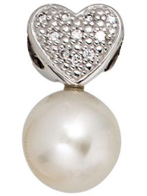 SIGO Anhänger Herz 585 Gold Weißgold 1 Süßwasser Perle 10 Diamanten Perlenanhänger