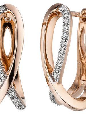 SIGO Creolen 585 Gold Rotgold 34 Diamanten Brillanten Ohrringe Diamantohrringe