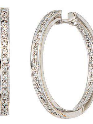 SIGO Creolen rund 585 Gold Weißgold 50 Diamanten Brillanten Ohrringe Weißgoldcreolen