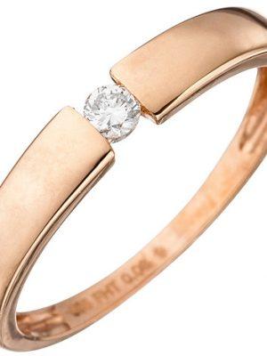 SIGO Damen Ring 585 Gold Rotgold 1 Diamant Brillant 0,08ct. Rotgoldring Diamantring