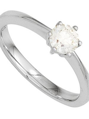 SIGO Damen Ring 585 Gold Weißgold 1 Diamant Brillant 0,10ct. Diamantring Goldring