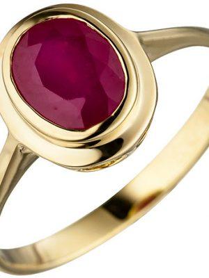 SIGO Damen Ring oval 585 Gold Gelbgold 1 Rubin Goldring Rubinring