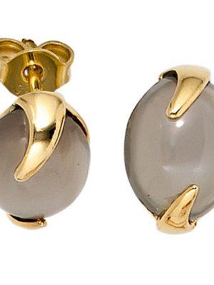 SIGO Ohrstecker 585 Gold Gelbgold 2 Mondsteine Ohrringe Goldohrstecker