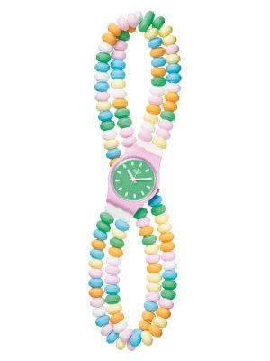 Swatch LP135A Armband-Uhr Damen Caramellissima Analog Quarz Kunststoff-Armband Ø 25 mm