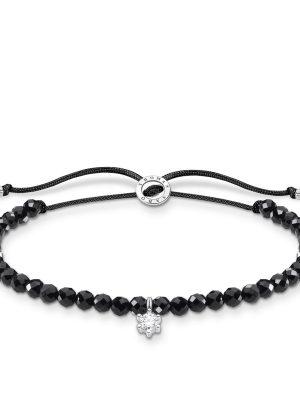 Thomas Sabo A1987-401-11 Armband Schwarze Perlen mit Weißem Stein Silber