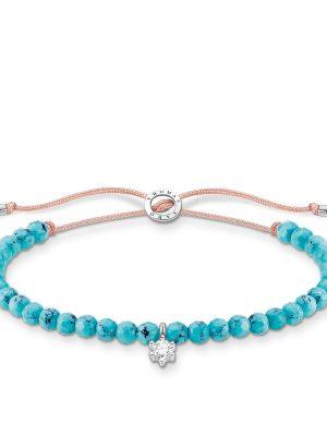 Thomas Sabo A1987-905-17 Armband Türkise Perlen mit Weißem Stein Silber