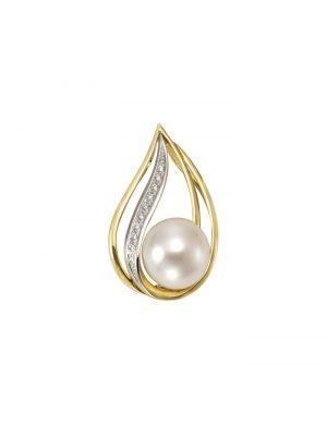 Anhänger 585/- Gelbgold Perle Brillanten 585/- Gold Süßwasserzuchtperle weiß 2,42cm Glänzend 0,04ct Orolino gelb
