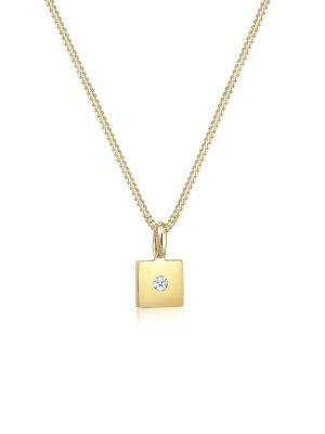 Halskette Viereck Anhänger Diamant (0.015 Ct) 585Er Gelbgold DIAMORE Gold