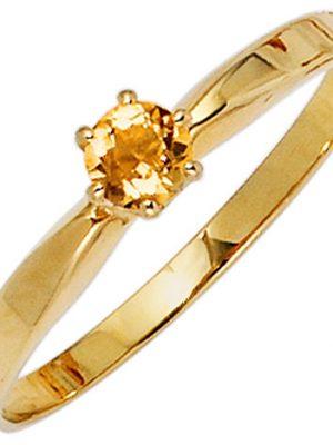 SIGO Damen Ring 585 Gold Gelbgold 1 Citrin orange Goldring
