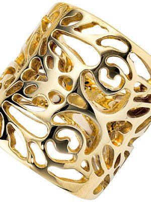 SIGO Damen Ring breit 585 Gold Gelbgold Goldring