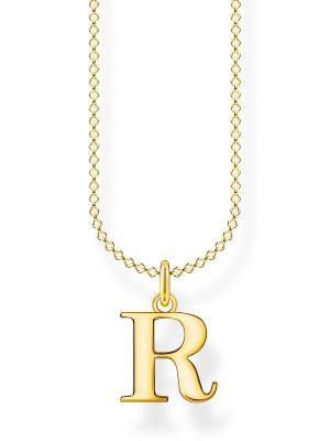 Thomas Sabo KE2027-413-39 Halskette mit Anhänger Damen Buchstabe R Silber Vergoldet