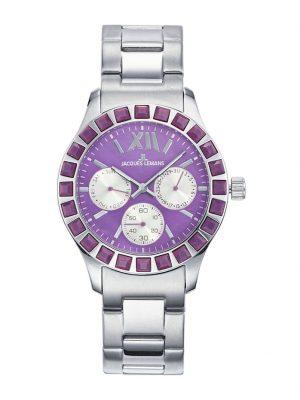 Damenuhr-Chronograph Jacques Lemans Silberfarben::Violett