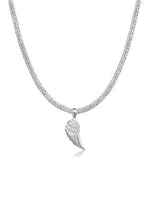 Halskette Mann Schlangenkette Flügel Anhänger 925 Silber Kuzzoi Silber