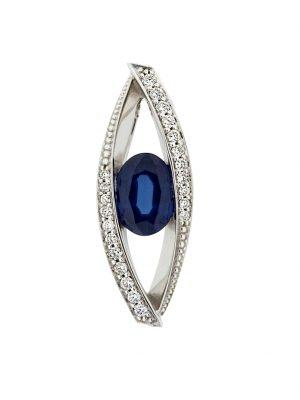 Anhänger 585/- Gold Safir blau Safir 2,2cm Glänzend 0,11ct. Orolino Silbergrau