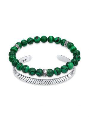 Armband Herren 2Er Set Oxidiert Achat 925 Sterling Silber Kuzzoi Grün